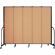 "Screenflex 5 Panel Portable Room Divider, 7'4""H x 9'5""L, Fabric Color: Desert"