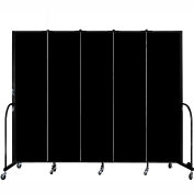 "Screenflex 5 Panel Portable Room Divider, 7'4""H x 9'5""L, Fabric Color: Charcoal Black"