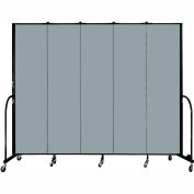 "Screenflex 5 Panel Portable Room Divider, 7'4""H x 9'5""L, Fabric Color: Grey Stone"