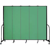 "Screenflex 5 Panel Portable Room Divider, 7'4""H x 9'5""L, Fabric Color: Sea Green"
