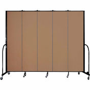"Screenflex 5 Panel Portable Room Divider, 7'4""H x 9'5""L, Fabric Color: Beech"
