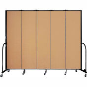 "Screenflex 5 Panel Portable Room Divider, 7'4""H x 9'5""L, Fabric Color: Sand"
