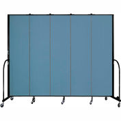 "Screenflex 5 Panel Portable Room Divider, 7'4""H x 9'5""L, Fabric Color: Blue"