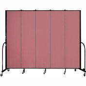 """Screenflex 5 Panel Portable Room Divider, 7'4""""H x 9'5""""L, Fabric Color: Mauve"""