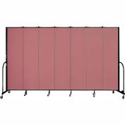 "Screenflex 7 Panel Portable Room Divider, 7'4""H x 13'1""L, Fabric Color: Rose"