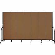 "Screenflex 7 Panel Portable Room Divider, 7'4""H x 13'1""L, Fabric Color: Walnut"