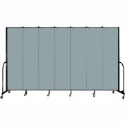 "Screenflex 7 Panel Portable Room Divider, 7'4""H x 13'1""L, Fabric Color: Grey Stone"