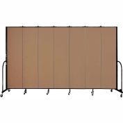 "Screenflex 7 Panel Portable Room Divider, 7'4""H x 13'1""L, Fabric Color: Beech"