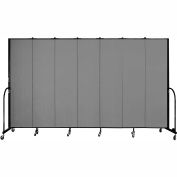 "Screenflex 7 Panel Portable Room Divider, 7'4""H x 13'1""L, Fabric Color: Grey"