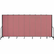"Screenflex 9 Panel Portable Room Divider, 7'4""H x 16'9""L, Fabric Color: Rose"