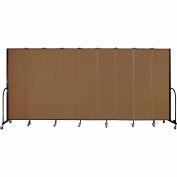 "Screenflex 9 Panel Portable Room Divider, 7'4""H x 16'9""L, Fabric Color: Walnut"