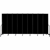 "Screenflex 9 Panel Portable Room Divider, 7'4""H x 16'9""L, Fabric Color: Charcoal Black"