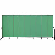 "Screenflex 9 Panel Portable Room Divider, 7'4""H x 16'9""L, Fabric Color: Sea Green"