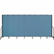 "Screenflex 9 Panel Portable Room Divider, 7'4""H x 16'9""L, Fabric Color: Blue"