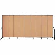 "Screenflex 9 Panel Portable Room Divider, 7'4""H x 16'9""L, Fabric Color: Wheat"