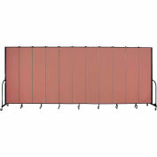"Screenflex 11 Panel Portable Room Divider, 8'H x 20'5""L, Fabric Color: Cranberry"