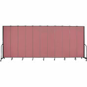 "Screenflex 11 Panel Portable Room Divider, 8'H x 20'5""L, Fabric Color: Mauve"