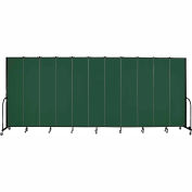 "Screenflex 11 Panel Portable Room Divider, 8'H x 20'5""L, Fabric Color: Green"