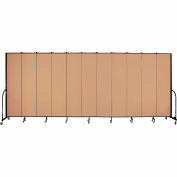 "Screenflex 11 Panel Portable Room Divider, 8'H x 20'5""L, Fabric Color: Wheat"