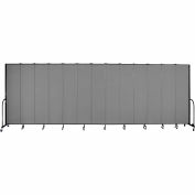 "Screenflex 13 Panel Portable Room Divider, 8'H x 24'1""L, Fabric Color: Stone"