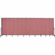 "Screenflex 13 Panel Portable Room Divider, 8'H x 24'1""L, Fabric Color: Rose"