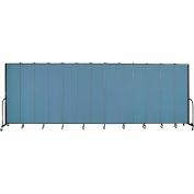 "Screenflex 13 Panel Portable Room Divider, 8'H x 24'1""L, Fabric Color: Blue"