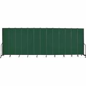 "Screenflex 13 Panel Portable Room Divider, 8'H x 24'1""L, Fabric Color: Green"