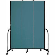 "Screenflex 3 Panel Portable Room Divider, 8'H x 5'9""L, Fabric Color: Lake"