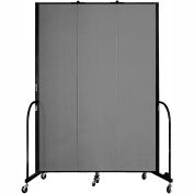 "Screenflex 3 Panel Portable Room Divider, 8'H x 5'9""L, Fabric Color: Stone"