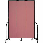 "Screenflex 3 Panel Portable Room Divider, 8'H x 5'9""L, Fabric Color: Rose"