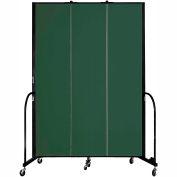 "Screenflex 3 Panel Portable Room Divider, 8'H x 5'9""L, Fabric Color: Mallard"
