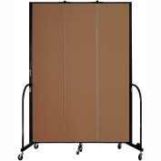 "Screenflex 3 Panel Portable Room Divider, 8'H x 5'9""L, Fabric Color: Walnut"