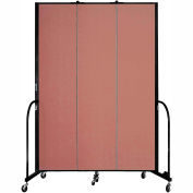 "Screenflex 3 Panel Portable Room Divider, 8'H x 5'9""L, Fabric Color: Cranberry"