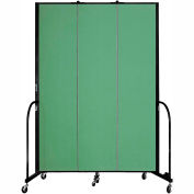 "Screenflex 3 Panel Portable Room Divider, 8'H x 5'9""L, Fabric Color: Sea Green"