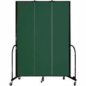 "Screenflex 3 Panel Portable Room Divider, 8'H x 5'9""L, Fabric Color: Green"