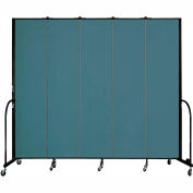 "Screenflex 5 Panel Portable Room Divider, 8'H x 9'5""L, Fabric Color: Lake"