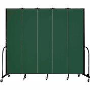 "Screenflex 5 Panel Portable Room Divider, 8'H x 9'5""L, Fabric Color: Mallard"