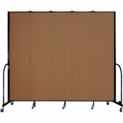 "Screenflex 5 Panel Portable Room Divider, 8'H x 9'5""L, Fabric Color: Walnut"