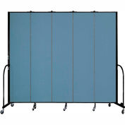 "Screenflex 5 Panel Portable Room Divider, 8'H x 9'5""L, Fabric Color: Summer Blue"