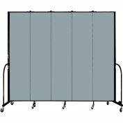 "Screenflex 5 Panel Portable Room Divider, 8'H x 9'5""L, Fabric Color: Grey Stone"