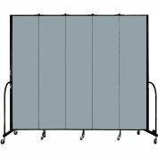 "Screenflex 5 Panel Portable Room Divider, 8'H x 9'5""L, Fabric Color: Grey Stone"