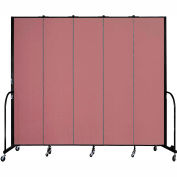 "Screenflex 5 Panel Portable Room Divider, 8'H x 9'5""L, Fabric Color: Mauve"