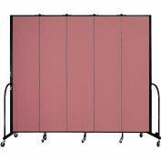 """Screenflex 5 Panel Portable Room Divider, 8'H x 9'5""""L, Fabric Color: Mauve"""