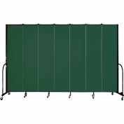 "Screenflex 7 Panel Portable Room Divider, 8'H x 13'1""L, Fabric Color: Mallard"