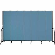 "Screenflex 7 Panel Portable Room Divider, 8'H x 13'1""L, Fabric Color: Summer Blue"