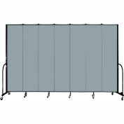 "Screenflex 7 Panel Portable Room Divider, 8'H x 13'1""L, Fabric Color: Grey Stone"
