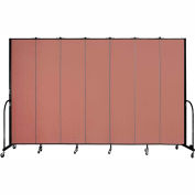 "Screenflex 7 Panel Portable Room Divider, 8'H x 13'1""L, Fabric Color: Cranberry"