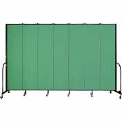 "Screenflex 7 Panel Portable Room Divider, 8'H x 13'1""L, Fabric Color: Sea Green"
