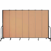 "Screenflex 7 Panel Portable Room Divider, 8'H x 13'1""L, Fabric Color: Wheat"