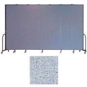 "Screenflex 7 Panel Portable Room Divider, 8'H x 13'1""L, Vinyl Color: Blue Tide"